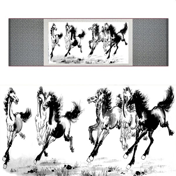 Chinese Traditional Art Painting Art Painting Scroll Of Silk Art Horse Horse 040704 Image Painting