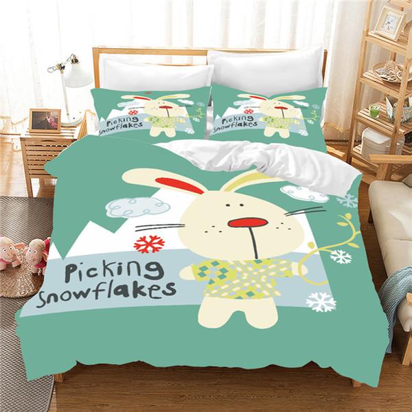 3D Cartoon Duvet Cover set Soft Bear Cat Bedding set comforter Bed Pillowcase bedding comfortable for baby gift Part 2