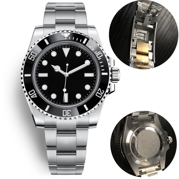 best selling u1 mens automatic mechanical ceramics watches 40mm full stainless steel Gliding clasp Swim wristwatches sapphire super luminous watch