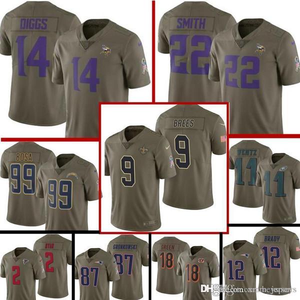 sale retailer 1eed4 4e6d1 2019 2017 Salute To Service Minnesota Vikings Jersey Mens 14 Stefon Diggs  22 Harrison Smith Football Jerseys 9 Drew Brees 99 Bosa From ...