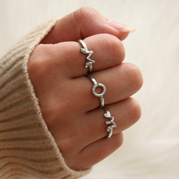 2019 New Adjustable Crystal Word Letter Rings For Women Rose Gold Color Zirconia Name Ring Female Fashion Friend Jewelry Gift