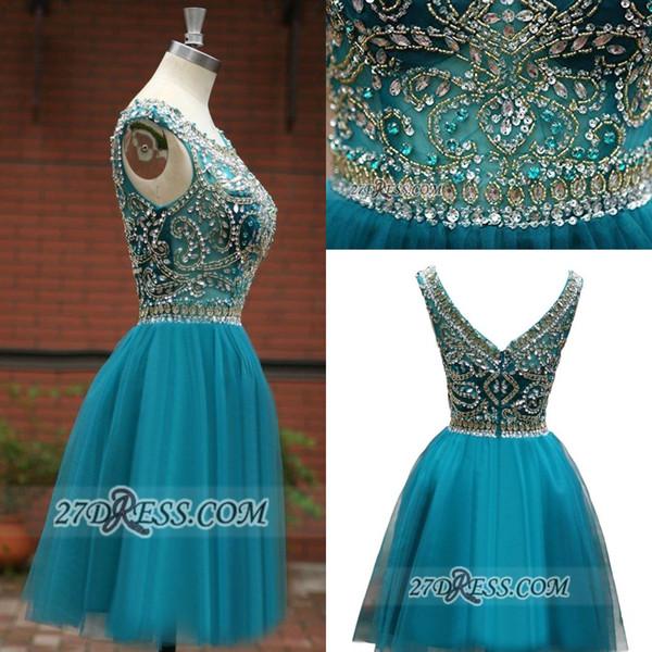 Роскошные бисером Павлин синий Homecoming платья блестки кристаллы короткие вечернее платье коктейльные платья мини-юбка BC1044