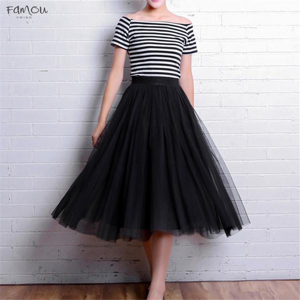 Elastic 2019 High Waist Vintage Tulle Mesh Midi Skirt Summer Summer Womens Long A Line Pleated Female Jupe Longue S1631