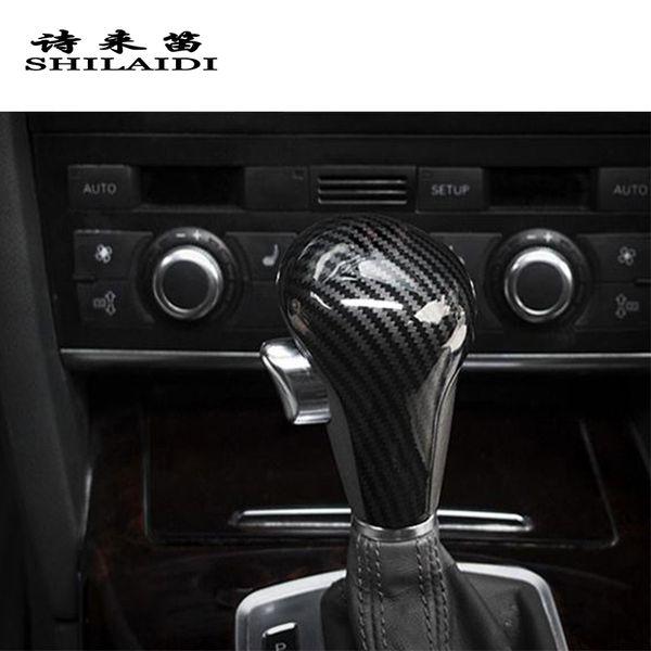 Fibra De carbono Styling Car Shift Gear Knob Cabeça Cobre Adesivos Para Audi A6 C6 A4 B7 Q5 A5 Q5 Automático Alavanca de Câmbio guarnição Acessórios