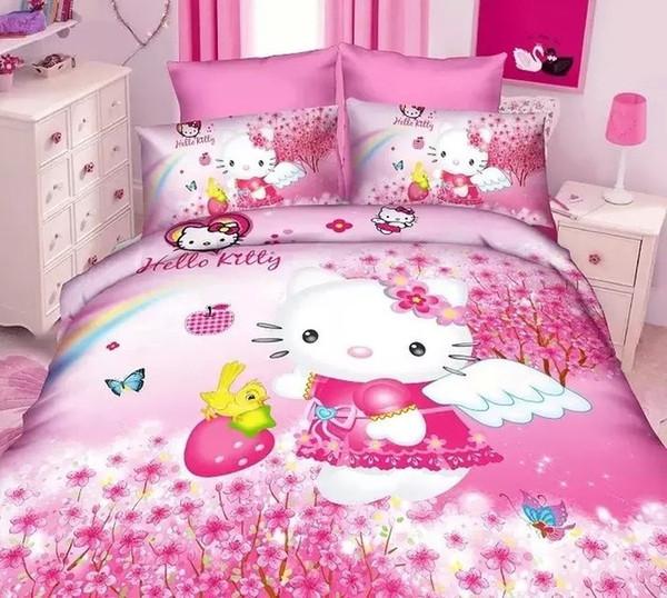 Ev Tekstili çocuk Karikatür Moda KT Renk Kızlar Yatak Takımları Çift Kişilik Yatak Kraliçe Tam Boy Nevresim Çarşaf 2/3 adet