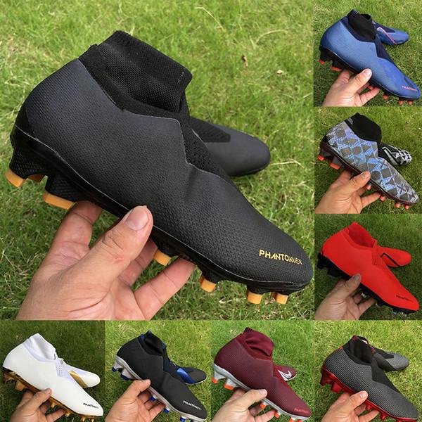 top popular 2020 Mens soccer shoes Phantom VSN Elite DF FG Football Boots Fully charged black lux Paris Triple Black men soccer cleats 2020