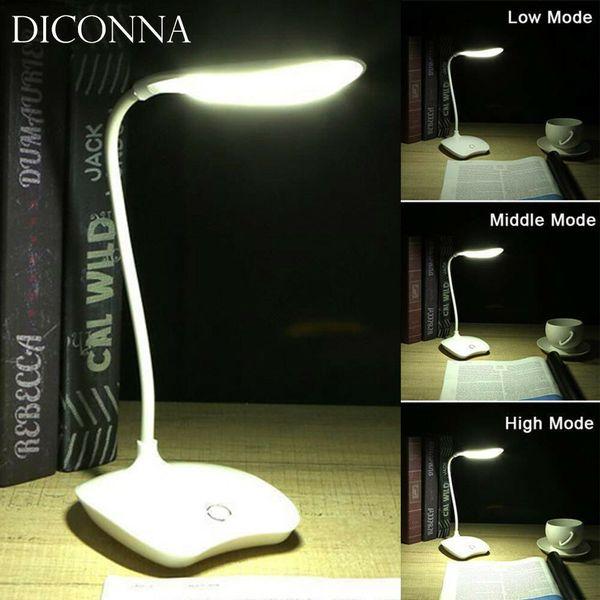 2019 Yeni USB Şarj Edilebilir Dokunmatik Sensör Akülü LED Masa Masa Okuma Lambası Işık Beyaz 3-Mode Dokunmatik Dönebilen Güverte Lamba Işık