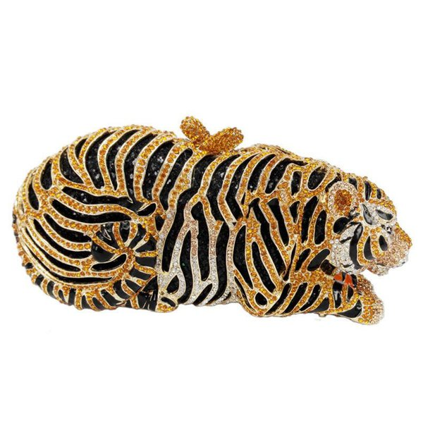 Stylish Animal Tiger Diamond Evening Bag Gold Luxury Diamante Crystal Clutch bag Wedding elegant bride Party banquet Purse 88166