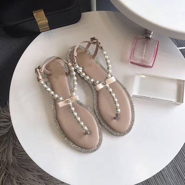 Fashion summer genuine leather women sandals shoes flat pearl sandals string bead beach slippers casual buckle white \black