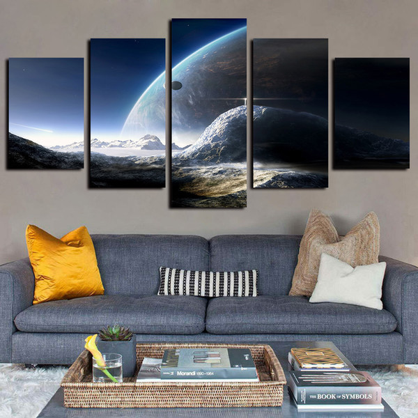 5 Panels Canvas Wall Art Universe Space Planet Moon Mountain Pictures Paintings Giclee Print on Canvas Oil Paintngs Artwork