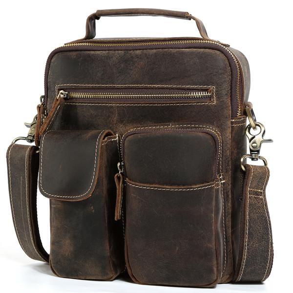 Luxury Cow Leather IPAD Bag Mens Cool Vintage Style Vertical Messenger Shoulder Bags Crazy Horse Leather Men's Bag Brown