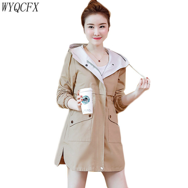 f408bd1d7 2019 New Spring Autumn Coat Women Clothing Windbreaker Casual Plus Size Top  Loose Fashion Adjustable Waist Hooded Womens Trench Coats From Regine, ...