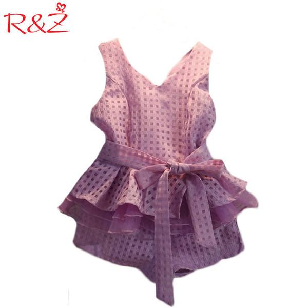 R&z 2019 Summer Girls Clothing Sets 2 Colors Chiffon Plaid Sleeveless Shirt Shorts Suits Baby Girls Princesas Kids Clothes 3-7t Y190522