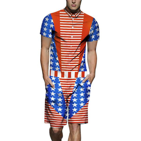 Erkek Yaz 19SS Moda Eşofman Tek Parça ABD Bayrağı Tasarımcı Gömlek 3D Baskılı Kargo Setleri Şort Rahat Kıyafetler