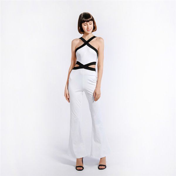 Women Strap Backless Long Jumpsuits Summer Hollow Out Beach Loose Jumpsuit Romper Fashion Sexy Off Shoulder Playsuit Bigsweety
