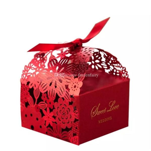 Cajas de favores de boda caliente Caja de dulces Favores de fiesta Caja de dulces de boda hueca Cajas de chocolate Bolsas de dulces cajas de pastel a527-534 2017120201