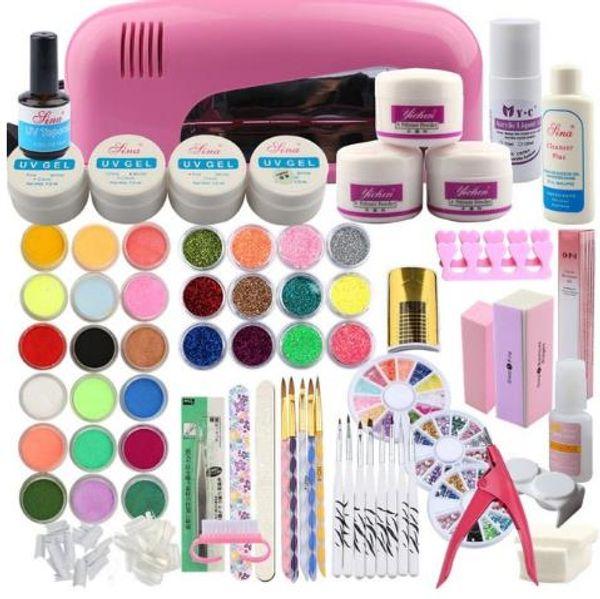 Kit de acrílico en polvo 9W Secador de lámpara 30 colores Nail Glitter Powder Nail Art Cepillo de extensión para uñas Consejos falsos Conjunto de gel UV de capa superior