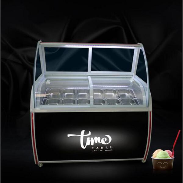 best selling 14 taste ice cream display cabinet glass food Freezer manual popsicle showcase ice cream display cabinet 240W