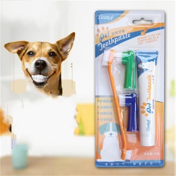 Cão Creme Dental Dupla Cabeça Escova de Dentes 4 Peça Terno Comestível Dentifrício Pet Cavidade Oral Suprimentos Limpos Não Deslizamento Suave 4 7zx C1kk