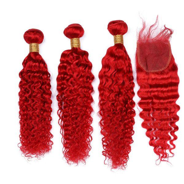 Rizado profundo Onda india Virgen del cabello humano Paquetes de tejido de color rojo brillante con cierre Color rojo Tramas de cabello ondulado con encaje de 4x4 Cierre superior