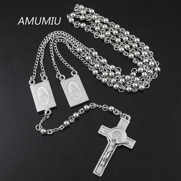Amumiu 4mm*66cm Silver Color Men Rosary Beads Necklace Stainless Steel Catholic Religion Of Jesus,women Cross Jewelry Hn079 J190711