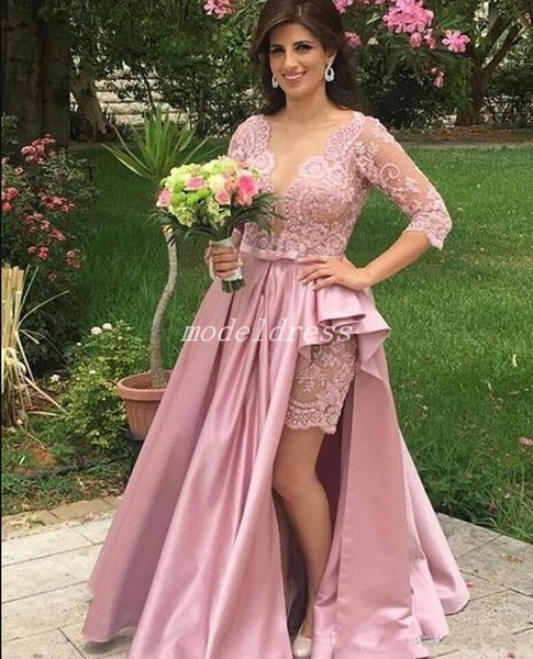 Elegant Pink Mother Of The Bride Dresses Sheer Neck 3/4 Long Sleeve Side Split Sweep Train Lace Beads Women Wedding Guest Gowns