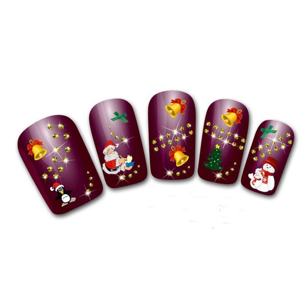 Nail decals Women's Christmas 3D nails Water Transfer Stickers Finger stickers for nails for girls adesivi unghie natale 0109