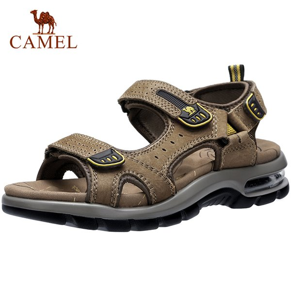 CAMEL Summer Men's Sandals Outdoor Trekking Lightweight Genuine Leather Beach Walking Offroad Sandal Waterproof Casual Men Shoes