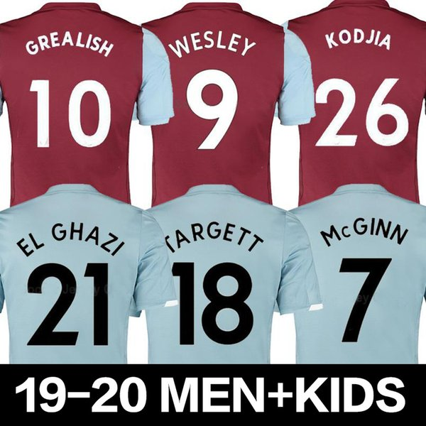 2019 2020 Aston Villa Football Grealish Hommes Jersey 19 20 ENGELS WESLEY CHESTER EL GHAZI Domicile Extérieur Football Chemises McGinn DOUGLAS LUIZ Uniforme