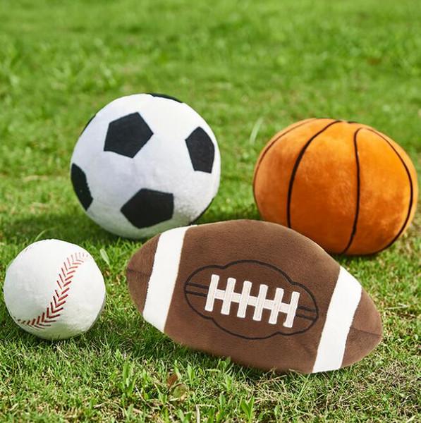 Imitação de futebol basquete beisebol Brinquedo Crianças Criativas esfera brinquedos Dos Desenhos Animados travesseiro esférico Do Bebê Bonecos De Pelúcia Para O Menino Novidade Presente GGA1869