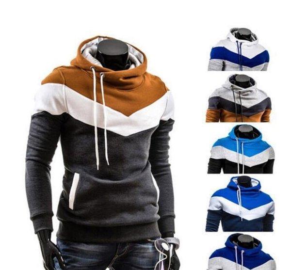 Luxe Vêtements pour hommes épissage noir et bleu flocage T-Shirt Femme Hoodies lettre de mode imprimer Jumpers sweat à capuche Designer