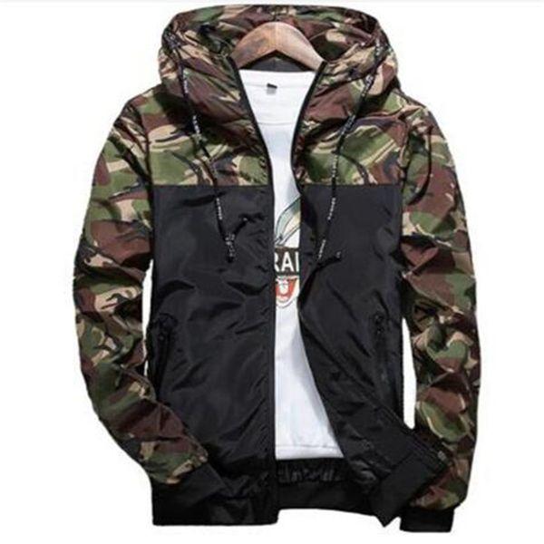 Spring Autumn Mens Casual Camouflage Hoodie Jacket Men Waterproof Clothes Men's Windbreaker Coat Male Outwear