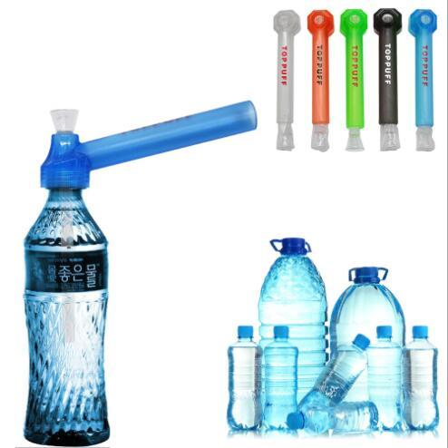 best selling Traveling travelling Water top Puff toppuff glass bong portable Smoking Pipe instant portable Screw on Bottle Converter mixed color