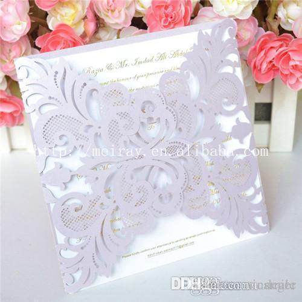 Wholesale- New arrival party supplies wedding favors, laser cut light purple vintage wedding invitations, luxury wedding invitations