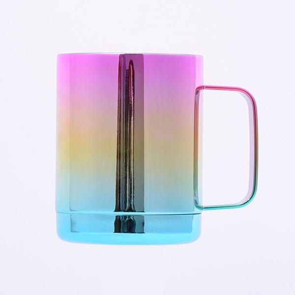 Xícaras de café de aço inoxidável caneca de gradiente de arco-íris copo de cerveja com isolamento a vácuo garrafa com alça e tampas de copos de carro portátil