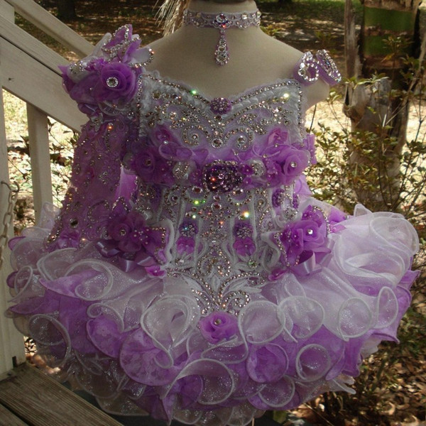 Organza Mini Cupcake Toddler Glitz Girls Vestidos del desfile Rhinestones de abalorios en capas Piping Cupcake Blanco Little Flower Girl Dresse