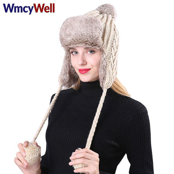 cfc67fca WmcyWell Winter Women Warm Wool Crochet Peru Ski Cap with Earflap Pompoms  Women's Fleece Knit Peruvian