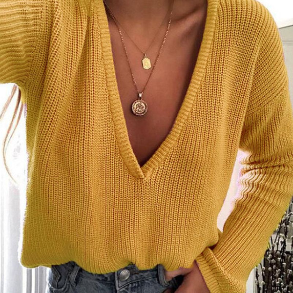 Womens Winter Autumn Deep V-Neck Sweater Solid Color Chunky Crochet Loose Pullover Tops Casual Long Sleeves Off Shoulder Knitwea