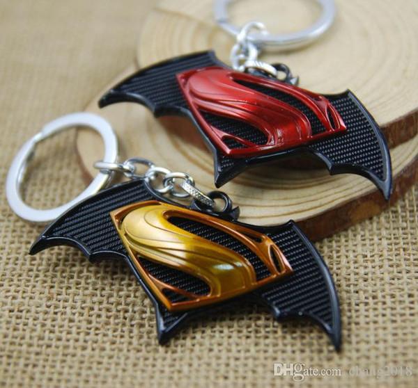 17 styles Superohero Batman Movie Metal Keychain Avengers Bat Man Logo Key Chain Keyring Anime Figure Pendant Key Holder Xmas Trinke newv001