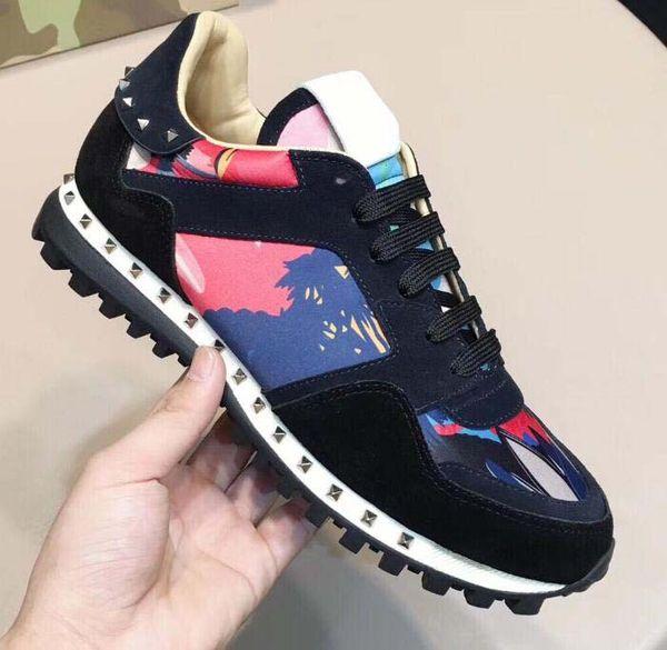 Новые туфли Мода Studed Камуфляж Повседневная Обувь Обувь Мужчины Женщины Квартиры Роскошный Дизайнер Rockrunner Тренеры Повседневная Обувь 12