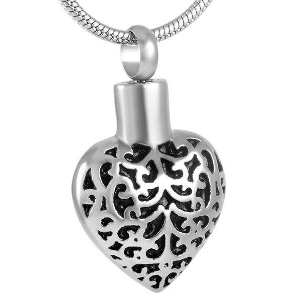 Stainless Steel Cremation for Ashes Urn Necklace Classic Pattern Pendant Memorial for Men with Chain Jewelry IJD8918