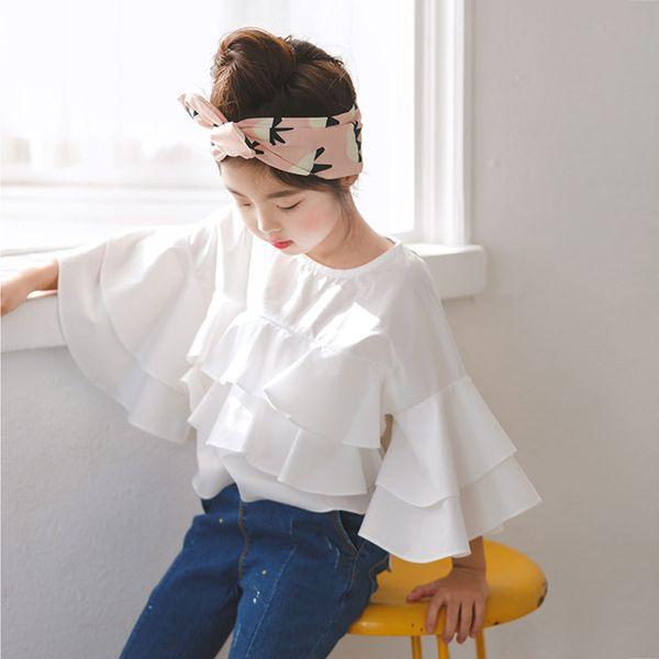 Fille Ruffle Top 2019 Printemps Enfants Enfants Filles Blouses Chemises Ados Filles Blouses Designs Enfants Blanc Coton Chemises Vêtements de fille