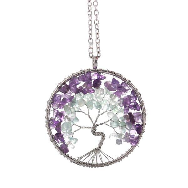 Womens Lively Life Tree Jewelry Necklace Natural Small Light Gree nand Purple Stone Necklace with Metal Chain