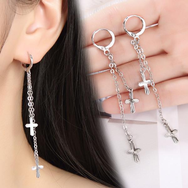 Fashion Silver plated Hypoallergenic Drop Earrings women Cross Long chain tassel Dangle & Chandelier hoop Ear hook For Ladies Jewelry