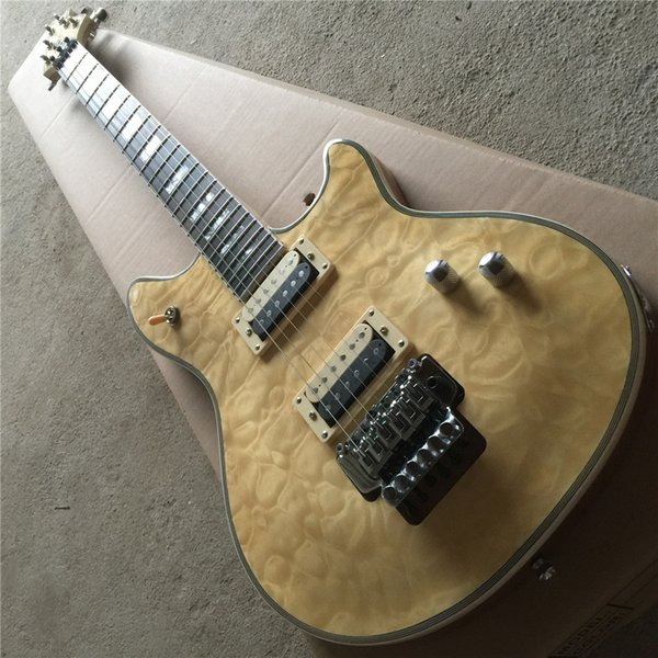 Free ShippingASH Body Electric Guitar with Rosewood Fretboard,Tremolo,Golden Hardwares,Clouds Maple Veneer,offering customized services