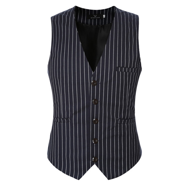 New Famous Brand Clothing Suit Vests Men Fashion Formal Prom Party Striped Slim Fit Single Breasted Dress Vest