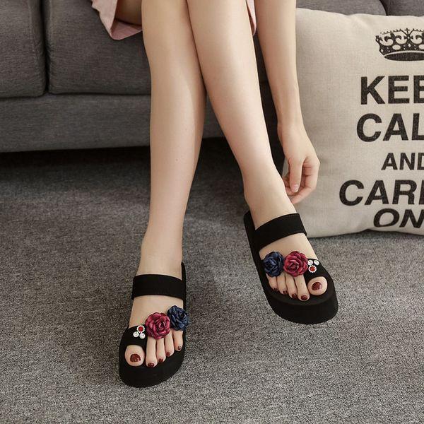 Summer Women's High Heel Slip Fashion Versatile Comfortable Rhinestone Flip Flops Slippers Elegant Thick Bottom Beach Sandals