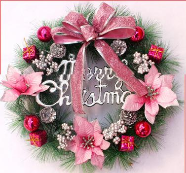2018 new HOT holiday decorations Happy Christmas pine needle's Christmas wreath 30cm 40cm pink blue red yellow silver