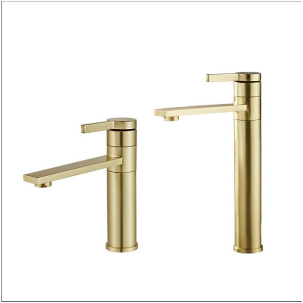 Bathroom Basin Faucet Gold Brushed Brass Mixer solid copper Luxury North Europe style Tap Sink Taps Basin Faucet