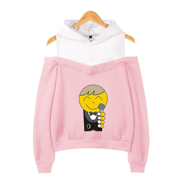 XS-2XL D SHOW Hoodie Cartoon Characters and Microphone Printed Long Sleeve Casual Pullover Hoodies Out Shoulder Sweatshirt Jacket Top